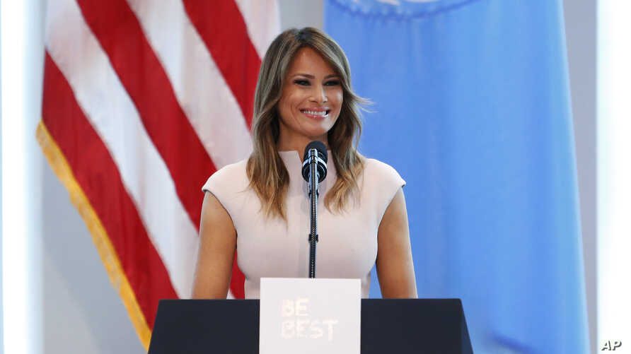 First lady Melania Trump speaks during a reception at the United States mission to the United Nations, Sept. 26, 2018, in New York.
