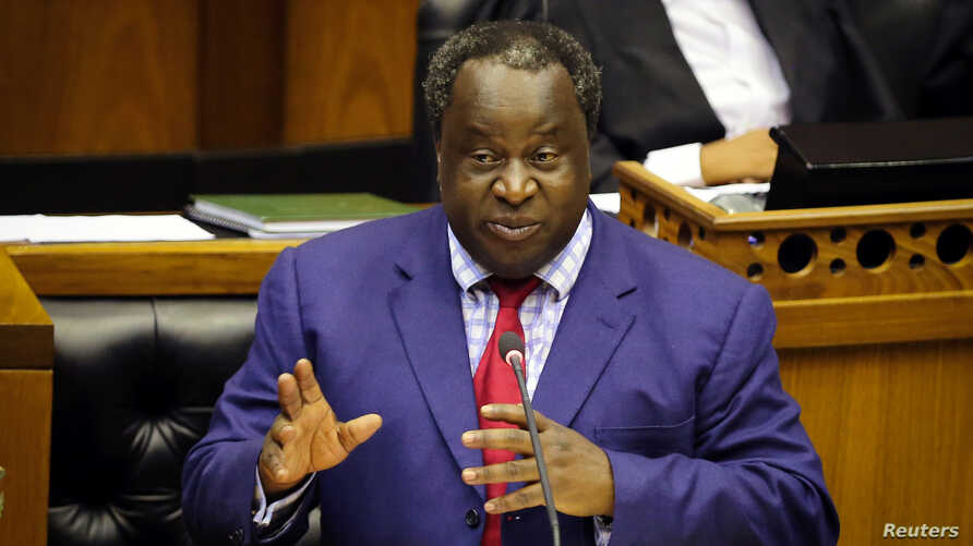 South African Finance Minister Tito Mboweni delivers his budget speech at Parliament in Cape Town, South Africa, Feb. 20, 2019. He proposed help for Eskom.