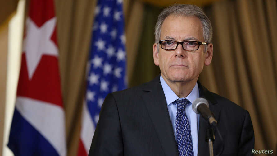 Jeffrey DeLaurentis, U.S. Charge d'Affaires in Cuba, delivers a speech after signing accords with Cuba to join forces to prevent, contain and cleanup oil spills in their respective Gulf of Mexico waters, in Havana, Cuba, January 9, 2017.