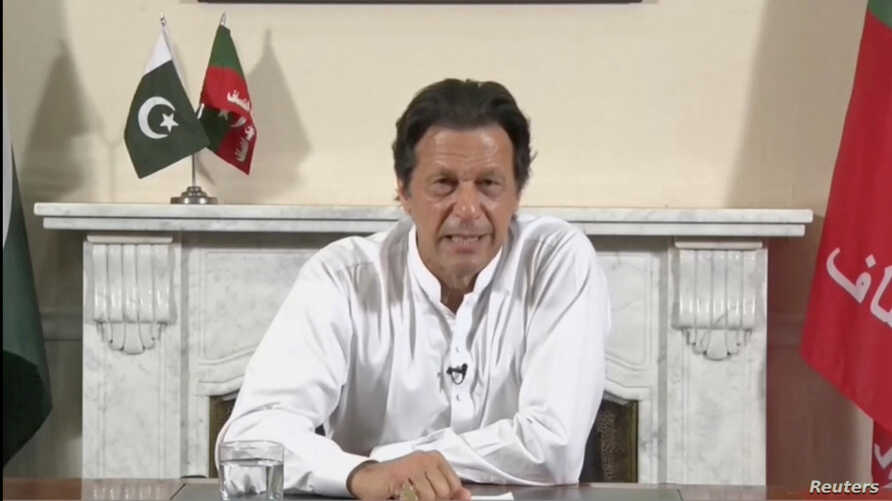 Cricket star-turned-politician Imran Khan, chairman of Pakistan Tehreek-e-Insaf (PTI), gives a speech as he declares victory in the general election in Islamabad, Pakistan, in this still image from a July 26, 2018 video.