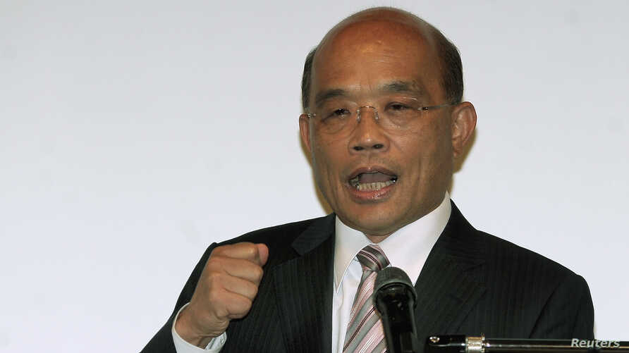 Newly-elected chairman of Taiwan's main opposition Democratic Progressive Party (DPP) Su Tseng-chang gives a speech during a news conference in Taipei, May 27, 2012.