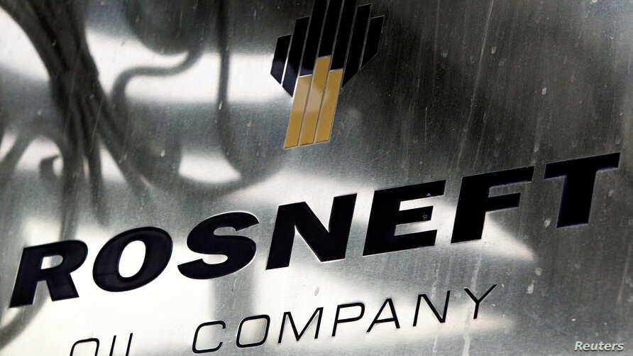 FILE - A logo of Russian state oil firm Rosneft is seen at its office in Moscow, Oct. 18, 2012.