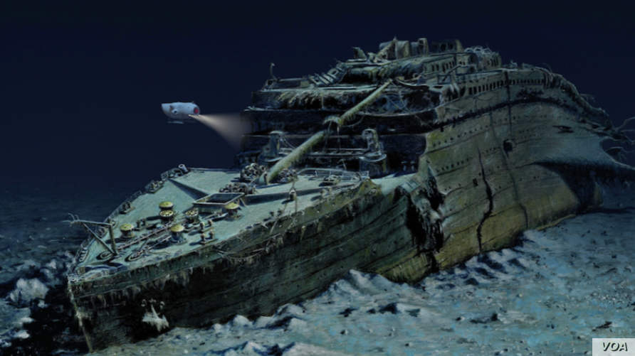 The wreckage of RMS Titanic is seen in this handout from Blue Marble Private, a tour company offering diving trips to the famous ship.