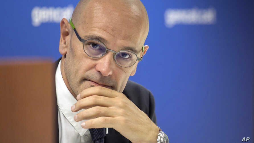 Minister of Foreign Affairs, Institutional Relations and Transparency Raul Romeva speaks with the media at the delegation offices in Brussels, Sept. 28, 2017.