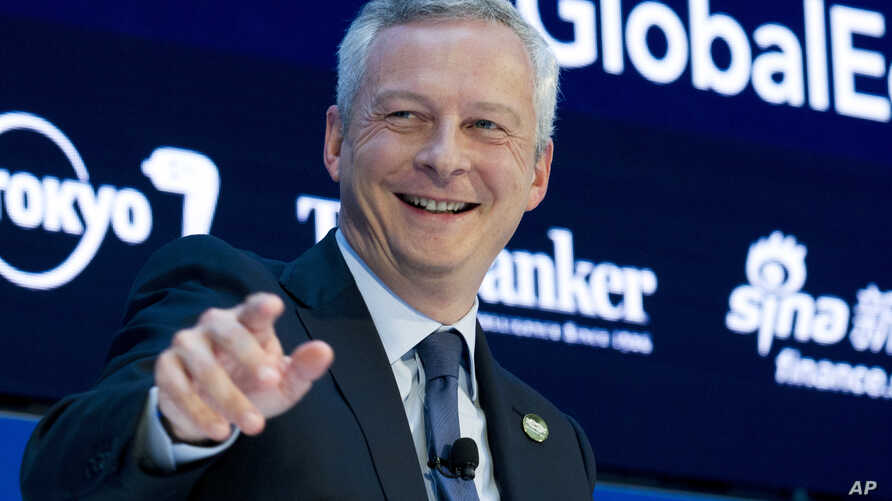 French Finance Minister Bruno Le Maire speaks during a Global Economy debate, in the sidelines of the World Bank/IMF Annual Meetings in Washington, Oct. 12, 2017.