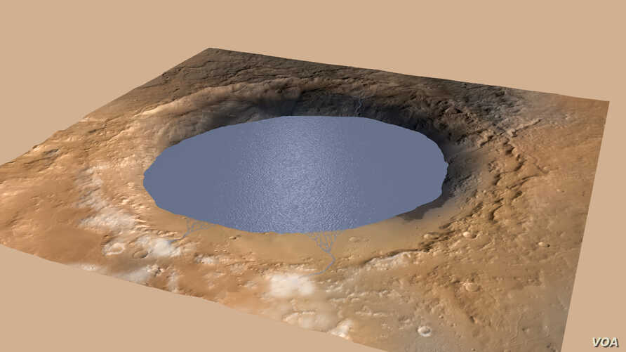 This simulation depicts a lake partially filling Mars' Gale Crater, receiving runoff from snow melting on the crater's rim.  (NASA/JPL-Caltech/ESA/DLR/FU Berlin/MSSS)