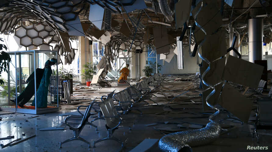 A view inside the damaged Mutiara Sis Al Jufri Airport in Palu, Central Sulawesi, Indonesia, Oct. 1, 2018.