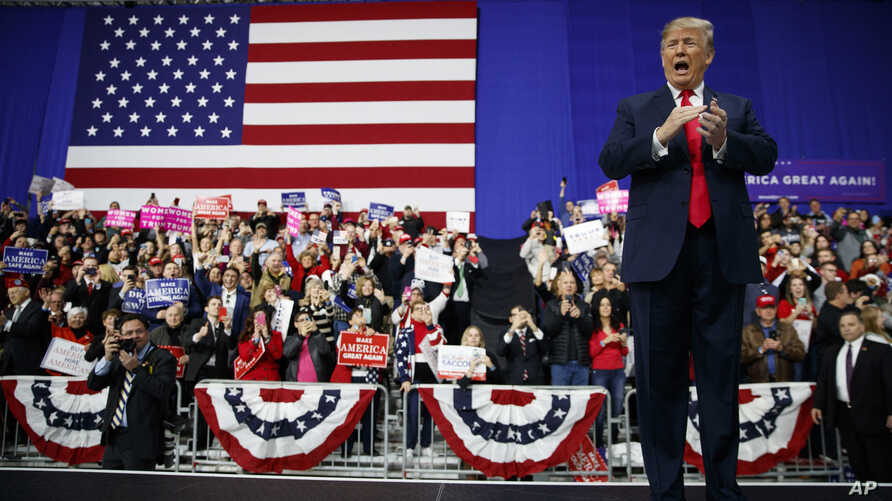 U.S. President Donald Trump arrives to speak at a campaign rally at Atlantic Aviation in Moon Township, Pa., March 10, 2018.