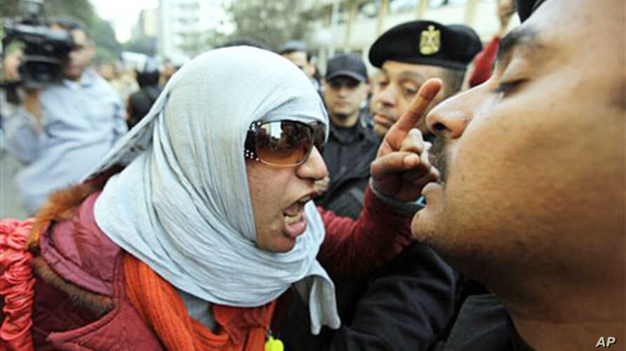 An Egyptian activist shouts at anti-riot policemen who block the way leading to the journalists syndicate in downtown Cairo, Jan 26 2011