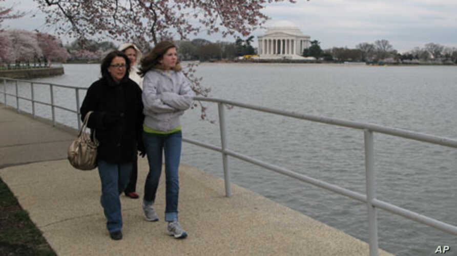 Marchers walked along the Tidal Basin in Washington, DC in support of Japan's victims