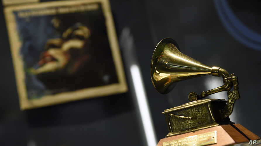 """Ella Fitzgerald's Grammy for best female vocal performance, awarded in 1958, is displayed at a sneak preview of """"Ella at 100: Celebrating the Artistry of Ella Fitzgerald"""" at The Grammy Museum at L.A."""