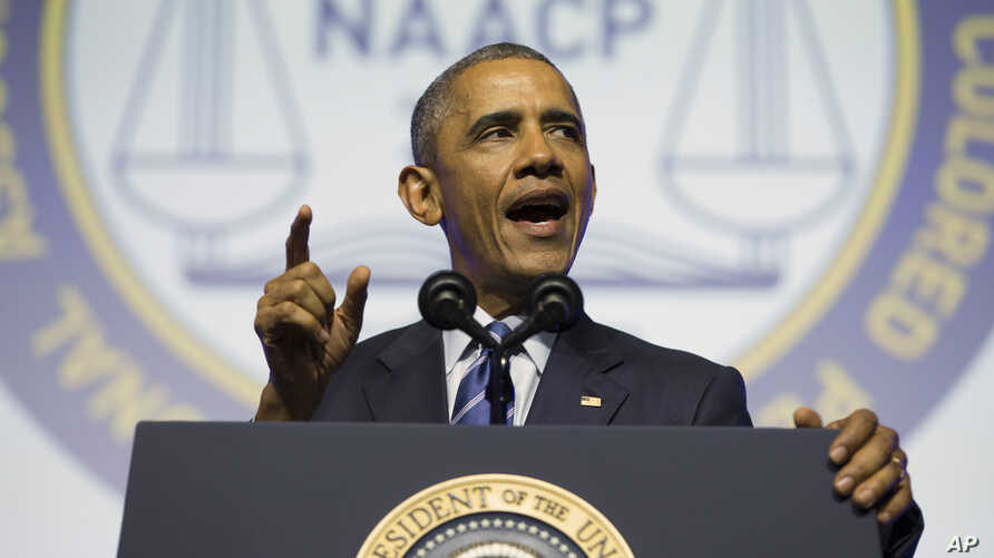 President Barack Obama speaks at the NAACP's 106th national convention at the Philadelphia Convention Center, July 14, 2015.