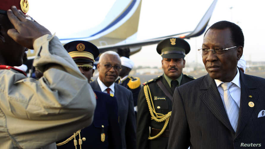 Chad President Idriss Deby arrives at Khartoum Airport on an official visit, February 2013.