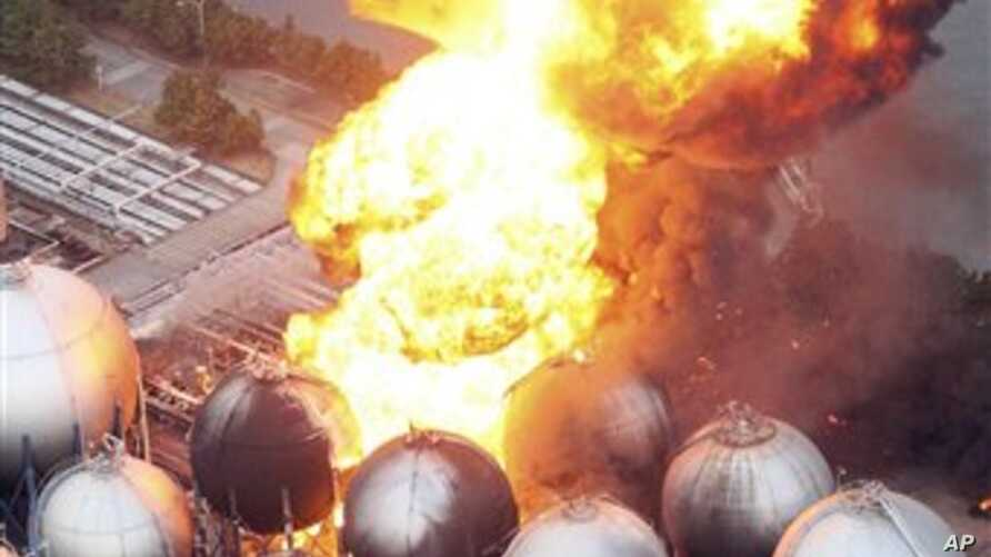 Oil refinery facility is on fire in Ichihara, Chiba Prefecture (near Tokyo) after strong earthquakes hit Japan, March 11, 2011