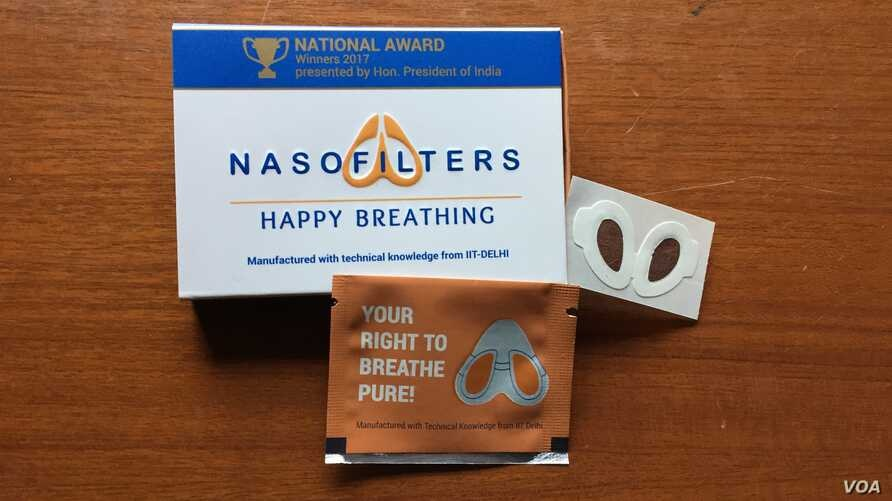 The Nasofilter, developed by a team of young innovators at the Indian Institute of Technology, New Delhi, consists of a thin membrane which fits inside the nose.