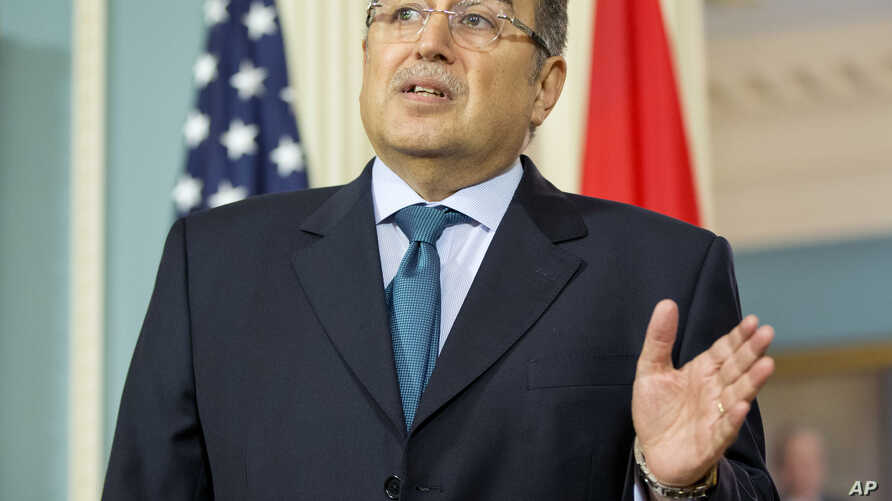 Egyptian Foreign Minister Nabil Fahmy speaks to members of the media during his meeting with Secretary of State John Kerry, Tuesday, April 29, 2014, at the State Department in Washington. (AP Photo)
