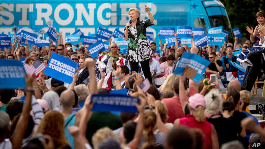 Democratic presidential candidate Hillary Clinton speaks at a rally at the Fort Hayes Metropolitan Education Center in Columbus, Ohio, July 31, 2016.