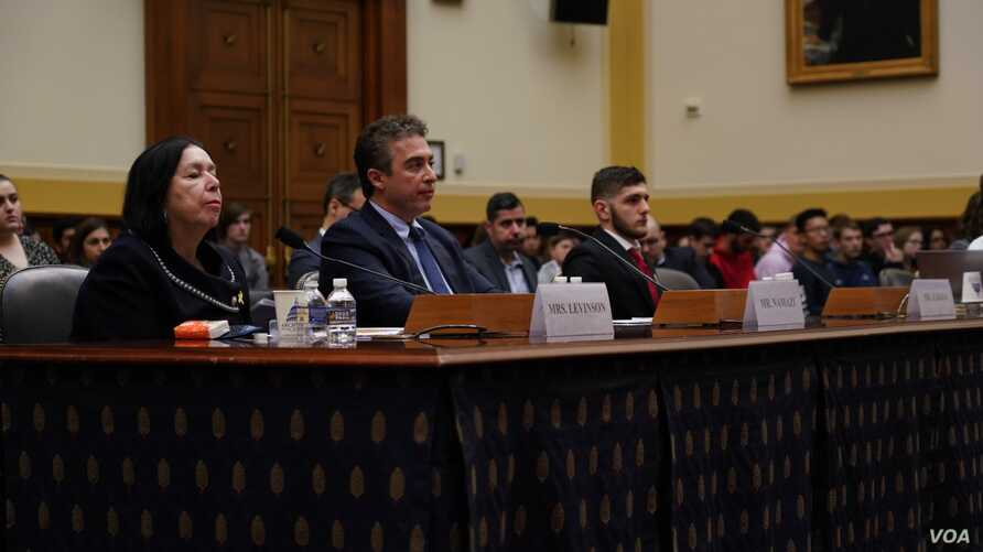 Christine Levinson, Babak Namazi and Omar Zakka testify at a House Foreign Affairs subcommittee hearing, March 7, 2019, about the status of their loved ones, detained or missing in Iran.