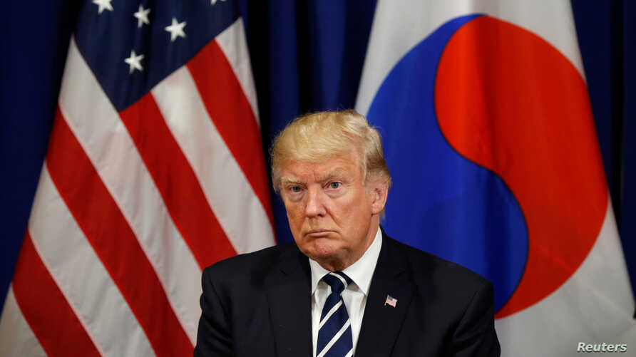 U.S. President Donald Trump looks on during his meeting with South Korean president Moon Jae-in during the U.N. General Assembly in New York, Sept. 21, 2017.