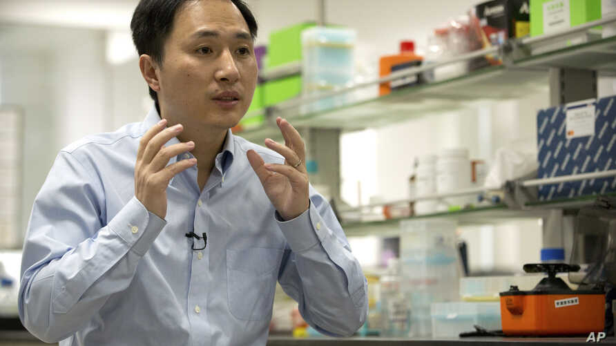 FILE - He Jiankui speaks during an interview at a laboratory in Shenzhen in southern China's Guangdong province.