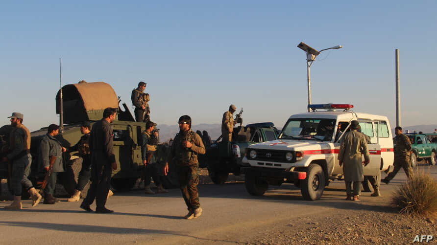 Afghan security force arrive near the site after a suicide bomber blew himself up inside a packed mosque on an Afghan army base in Khost province, Nov. 23, 2018.