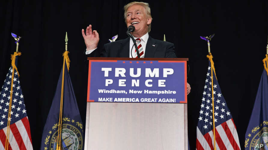 Republican presidential candidate Donald Trump speaks during a campaign rally at Windham High School in Windham, New Hempshire, Aug. 6, 2016.