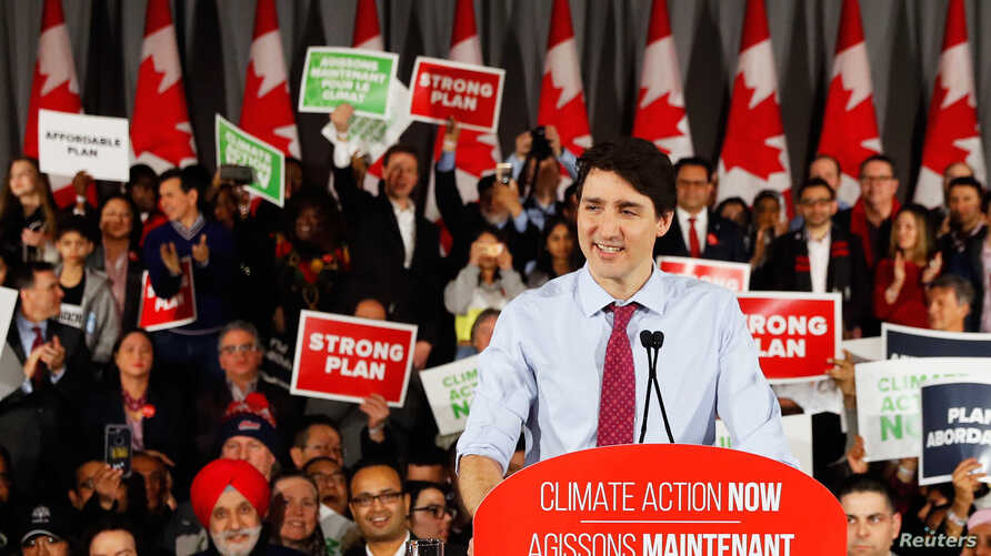 Canadian Prime Minster Justin Trudeau speaks at a Liberal Climate Action Rally in Toronto, Ontario, Canada, March 4, 2019.