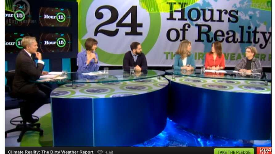 A screen shot of '24 Hours of Reality: The Dirty Weather Report'