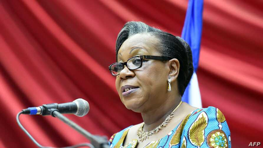 Transitional president of the Central African Republic, Catherine Samba Panza, gives a speech in Bangui before members of the Conseil National de Transition (CNT), the transitional parliament marking her 100 days leading the country, May 6, 2014.