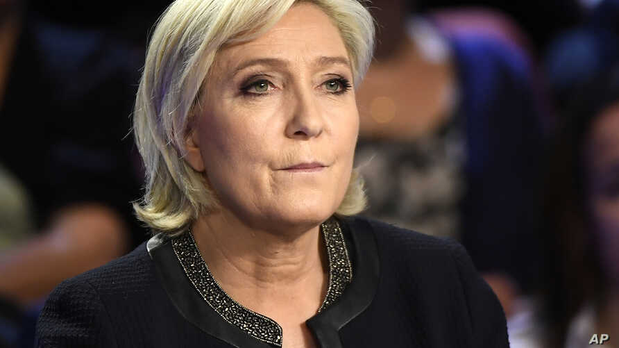 Far-right presidential candidate for the presidential election Marine Le Pen attends a television debate at French private TV channels BFM TV and CNews, in La Plaine-Saint-Denis, outside Paris, France, April 4, 2017.