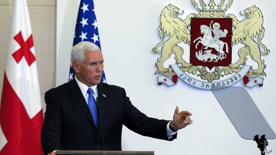 U.S. Vice President Mike Pence gestures while speaking at a news conference in Tbilisi, Georgia, Tuesday, Aug. 1, 2017.