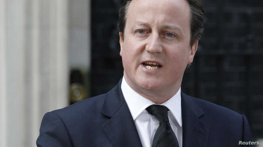 Britain's Prime Minister David Cameron makes a statement in Downing Street after the death of former prime minister Margaret Thatcher in London, April 8, 2013.