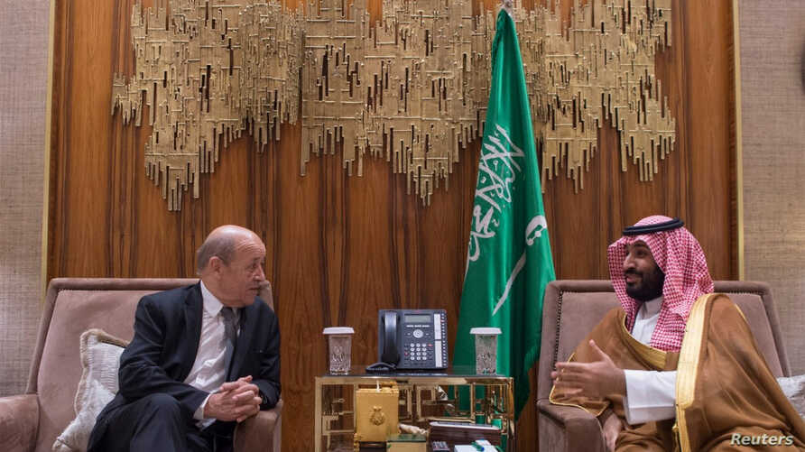 Saudi Crown Prince Mohammed bin Salman meets with France's Foreign Minister Jean-Yves Le Drian, in Riyadh, Saudi Arabia, Nov. 15, 2017.