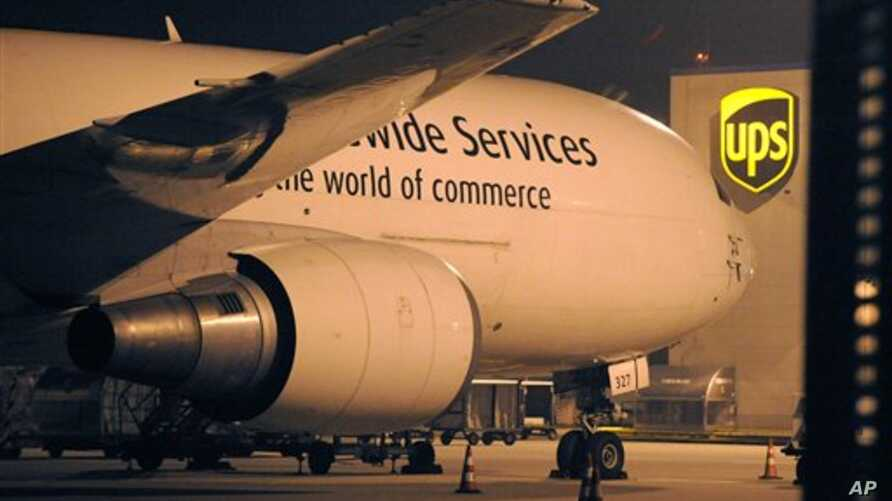 A cargo plane parks at the UPS distribution center at the International Cargo Airport in Cologne, western Germany, 01 Nov 2010