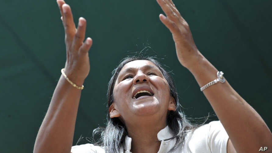 Tupac Amaru social movement leader Milagro Sala takes part in a ceremony in honor of Pachamama, or Mother Earth, in Jujuy, Argentina, Oct. 11, 2012.