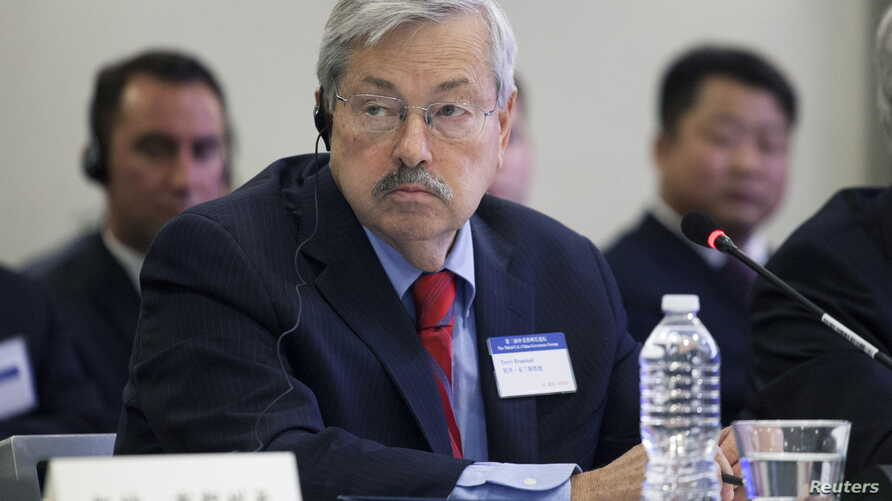 FILE - Iowa Governor Terry Branstad attends a meeting with Chinese President Xi Jinping and four other U.S. governors in Seattle, Wash., Sept. 22, 2015. Branstad was nominated as U.S. Ambassador to China on Wednesday.