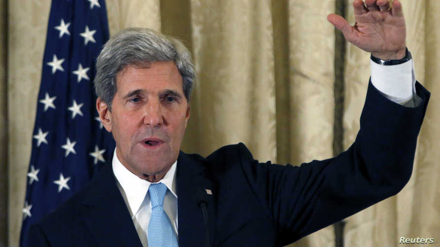 U.S. Secretary of State John Kerry attends a news conference for the start of a European tour regarding Syria, at the U.S. Ambassador residence in Paris, Oct. 21, 2013.
