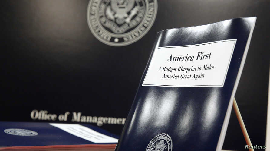 U.S. President Donald Trump's overview of the budget priorities for Fiscal Year 2018 are displayed at the U.S. Government Publishing Office (GPO) on its release by the Office of Management and Budget (OMB) in Washington, March 16, 2017.