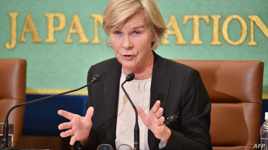 United Nations Special Rapporteur Maud de Boer-Buquicchio speaks during a press briefing at the Japan National Press Club in Tokyo, Oct. 26, 2015.