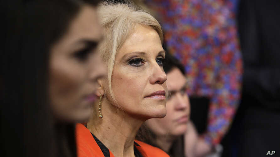 Counselor to President Kellyanne Conway listens during the daily White House briefing, Jan. 23, 2017, in the briefing room of the White House in Washington.