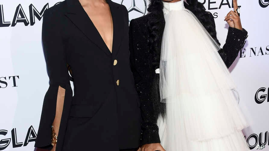 Actress MJ Rodriguez, left, and singer Janelle Monae attend the Glamour Women of the Year Awards at Spring Studios in New York, Nov. 12, 2018.