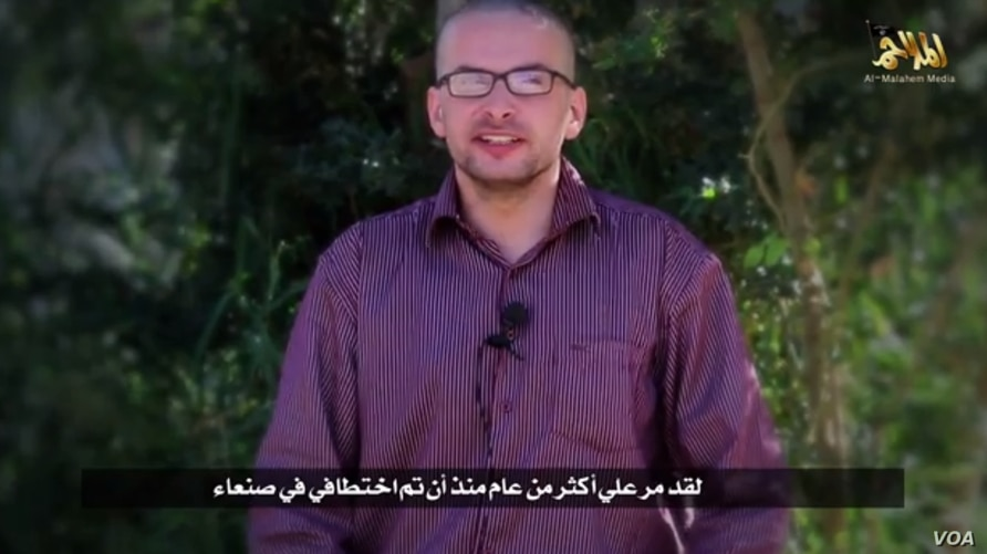 In a video released by al-Qaida in the Arabian Peninsula, a man saying he's American hostage Luke Somers says his life is in danger.