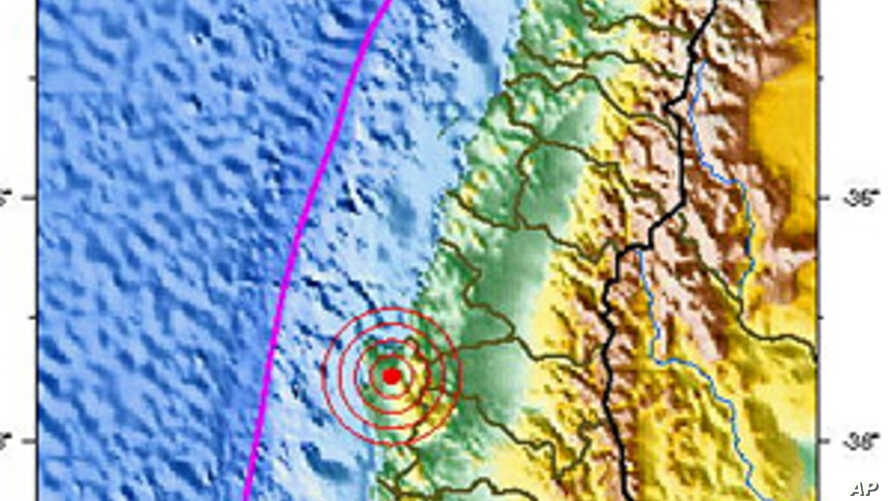 Location of Friday's aftershock off the coast of Chile, 05 Mar 2010