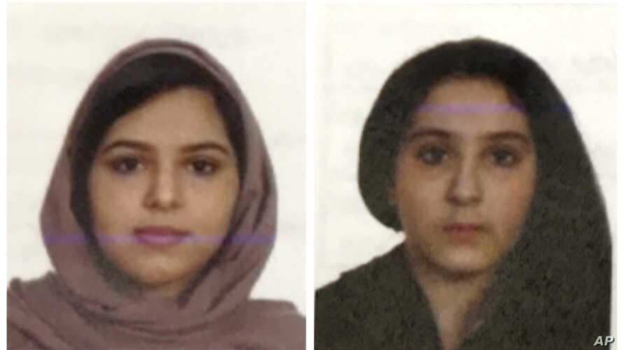 Two undated photos provided by the New York City Police Department (NYPD) show sisters Rotana, left, and Tala Farea, whose fully clothed bodies, bound together with  duct tape and facing each other, were discovered on New York City's Hudson River wat