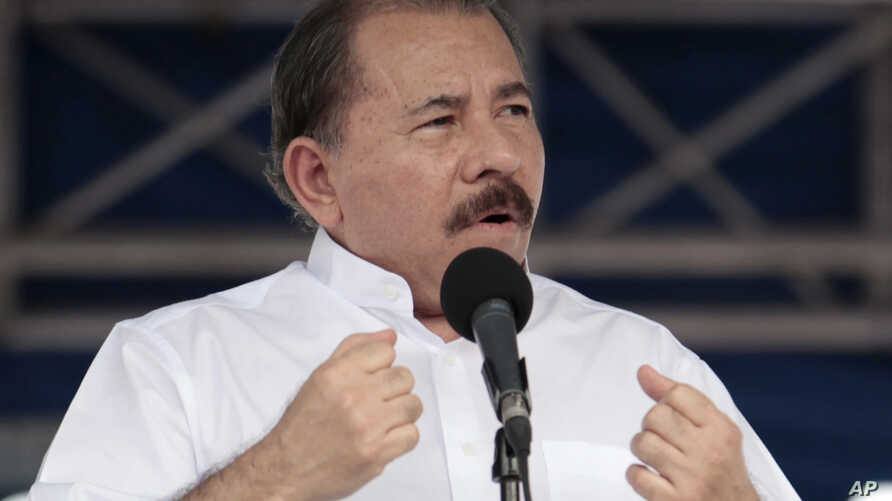 FILE - Nicaragua's President Daniel Ortega speaks during a ceremony marking the 34th anniversary of the withdrawal to Masaya, a tactical move by the Sandinistas that was critical in the overthrow of Anastasio Somoza's dictatorship in 1979, in Managua