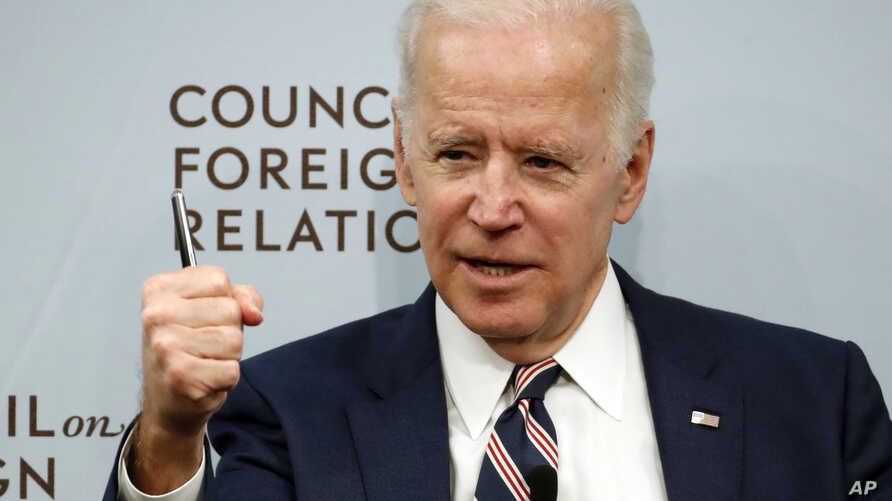 Former Vice President Joe Biden speaks about U.S. relations with the Kremlin at the Council on Foreign Relations, Jan. 23, 2018, in Washington.