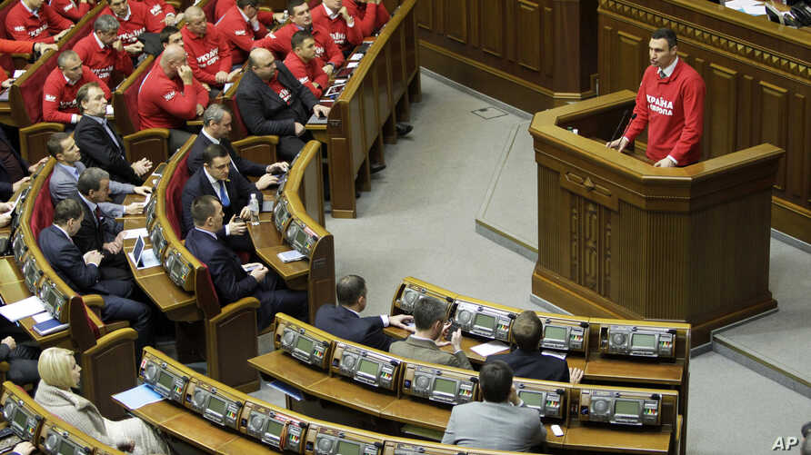 Lawmaker and Chairman of the Ukrainian opposition party Udar (Punch) and WBC Heavyweight Champion boxer Vitali Klitschko, speaks to lawmakers during the parliament session in Kiev, Ukraine, Nov. 13, 2013.