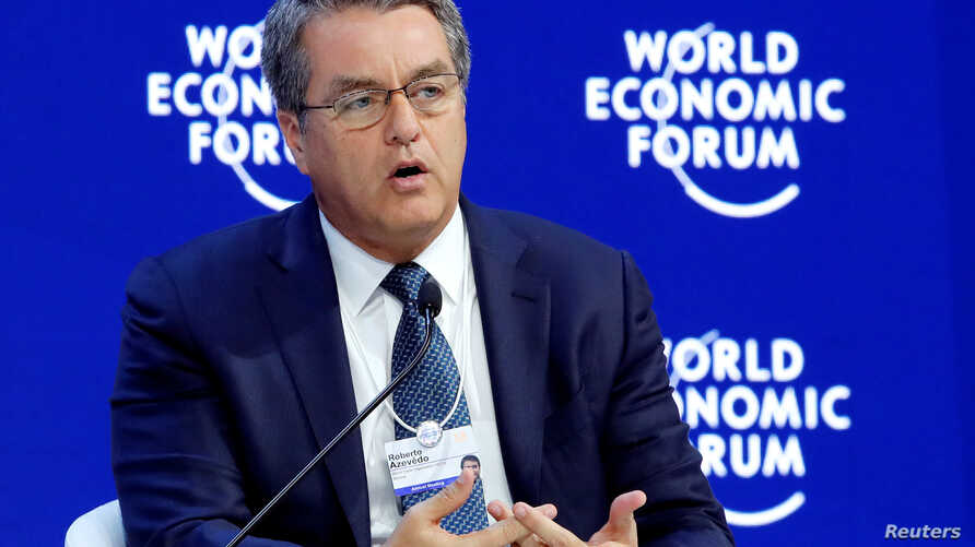 Roberto Azevedo, Director-General of the World Trade Organization (WTO), attends the World Economic Forum (WEF) annual meeting in Davos, Switzerland January 24, 2018.