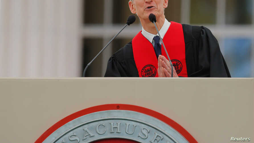 Apple CEO Tim Cook speaks during Commencement Exercises at Massachusetts Institute of Technology (MIT) in Cambridge, Massachusetts, June 9, 2017.