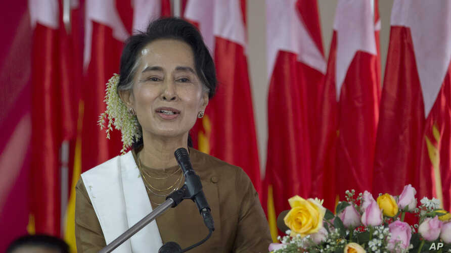 National League for Democracy party (NLD) leader Aung San Suu Kyi delivers a speech during a ceremony to mark Myanmar's 68th anniversary of Independence in Yangon, Myanmar, Jan. 4, 2016.